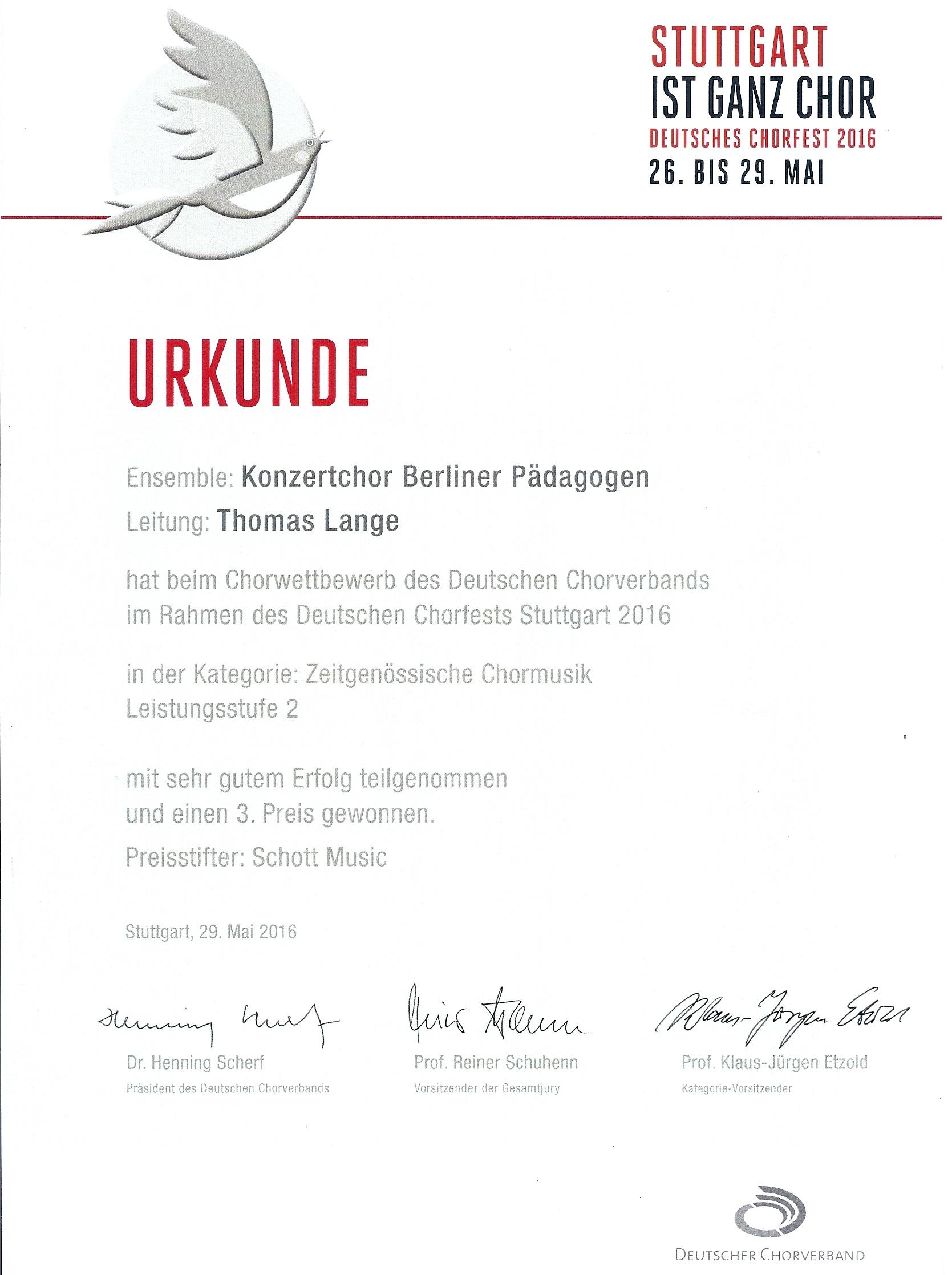 Urkunde Stuttgart als Bild